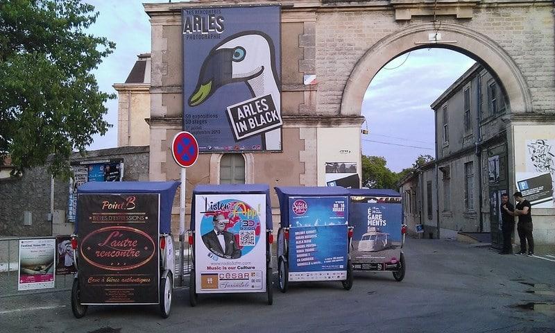 Communication éco-responsable sur Arles.Taco and Co et ses 4 supports publicitaires mobiles