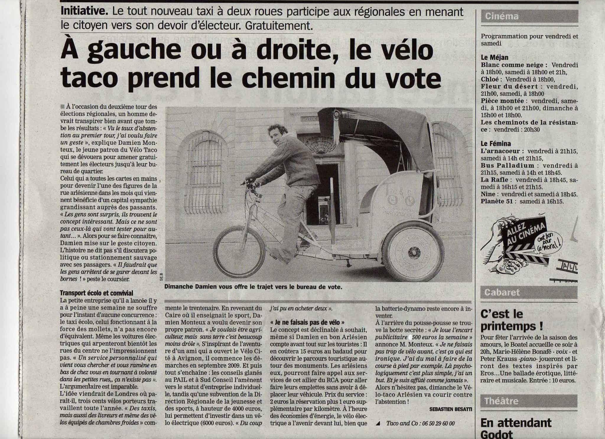 Article dans la Marseillaise du Vendredi 19 Mars 2010