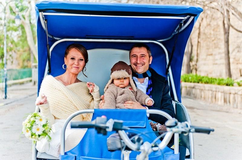Cécile, Thierry et leur fils lors de leur mariage