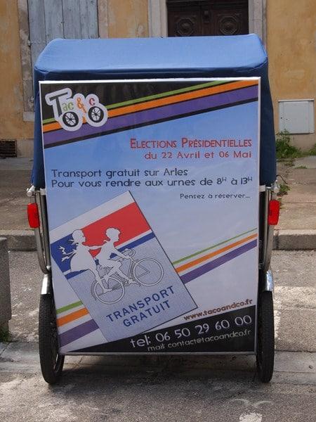 Elections Présidentielles 2012 à Arles: Taco and Co vous transporte gratuitement.