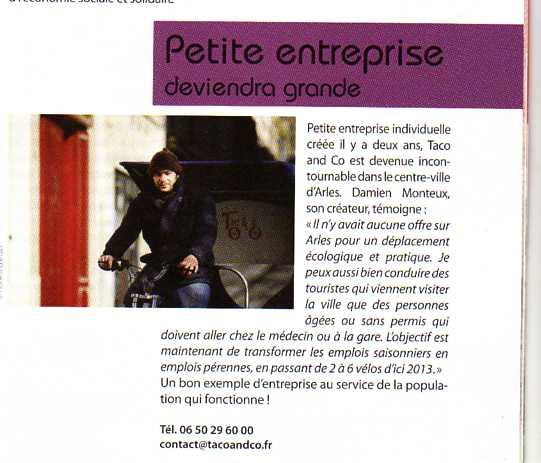 Nouvelle parution presse pour Taco and Co dans la revue Com'd'agglo d'Avril 2012