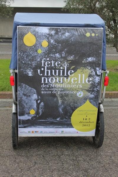 Publicité mobile et écologique sur Arles: les Mouliniers de la vallée des baux ont choisit Taco and Co