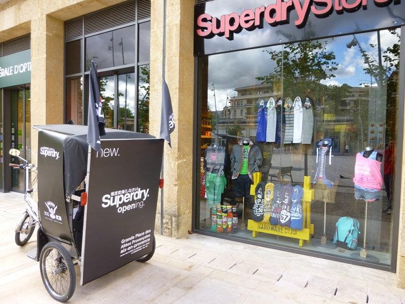 Ouverture Superdry store à Aix en Provence aux allées Provençales.