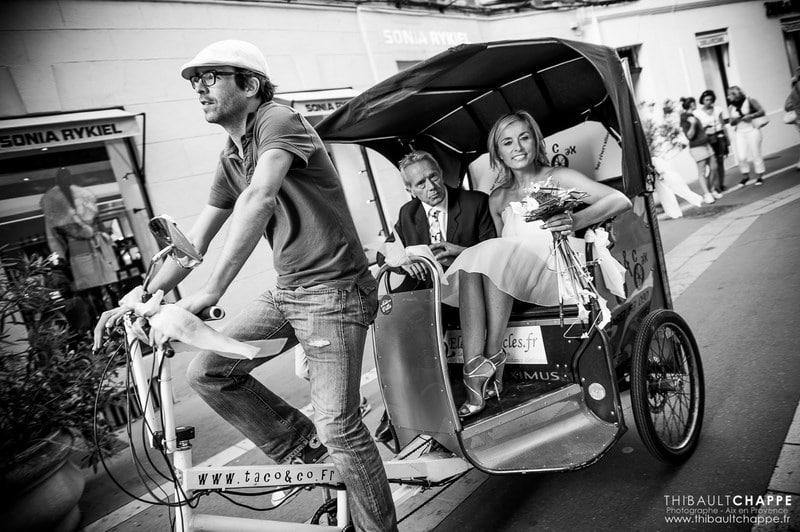mariage original à Aix-en-Provence avec le vélo-taco