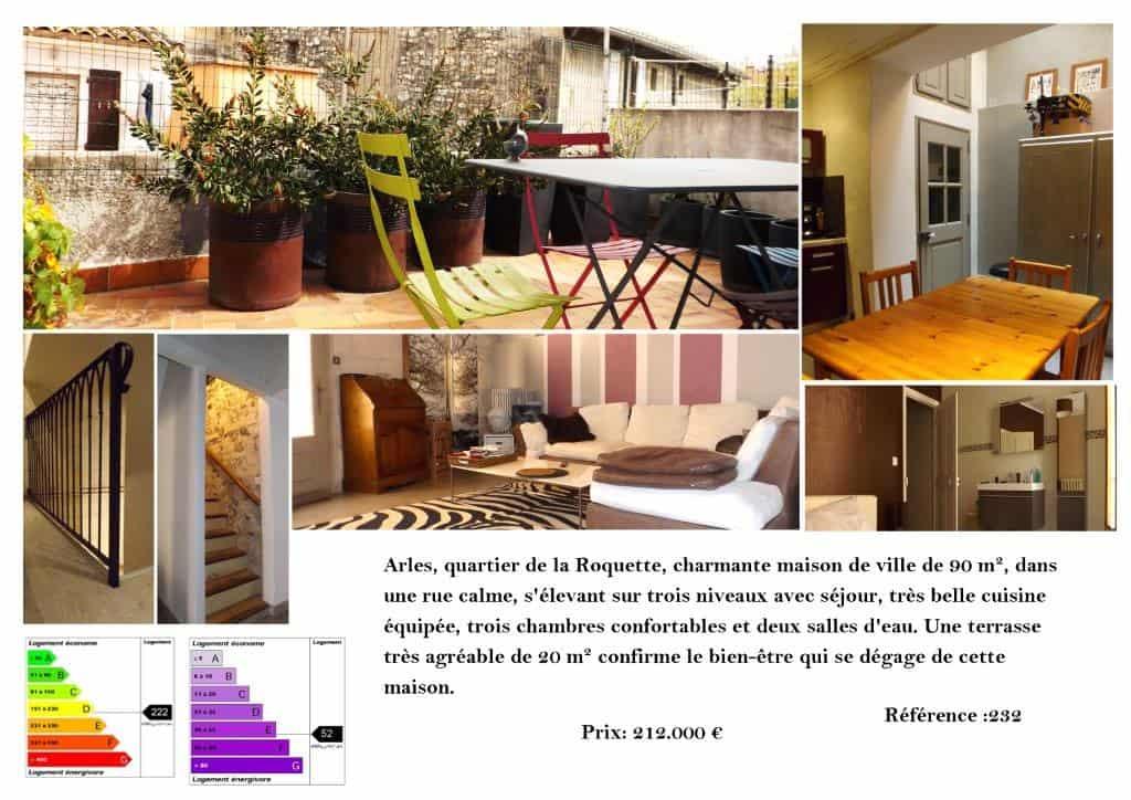 L'Agence Arlésienne vous propose à la vente une maison de 90m2 dans le quartier de la Roquette à Arles.