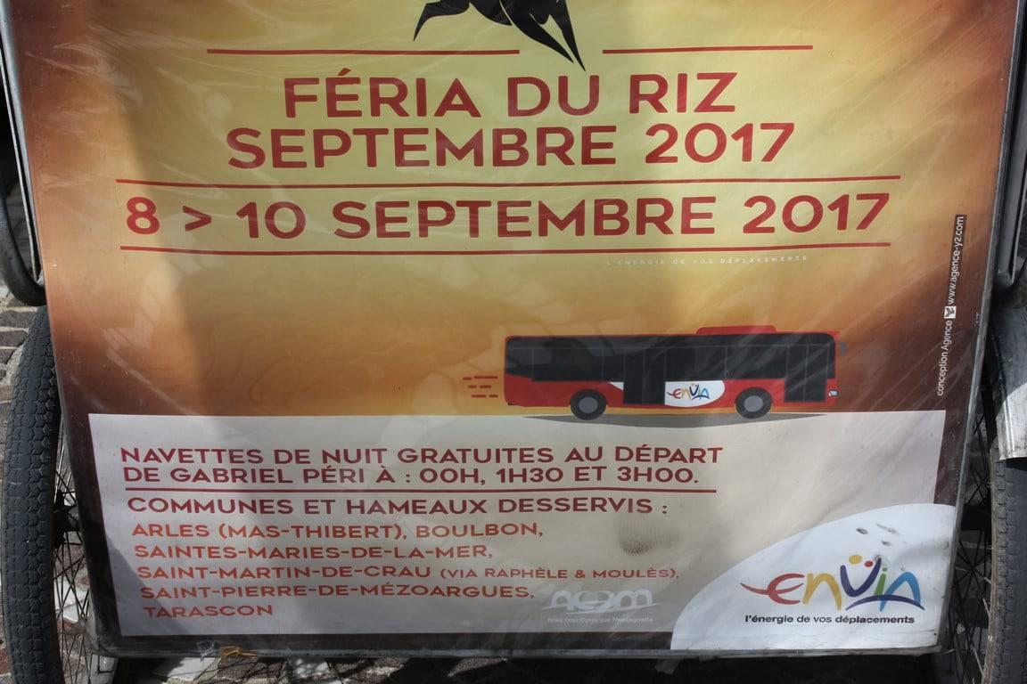 Féria du riz 2017 à Arles:Navettes gratuites proposées par Envia