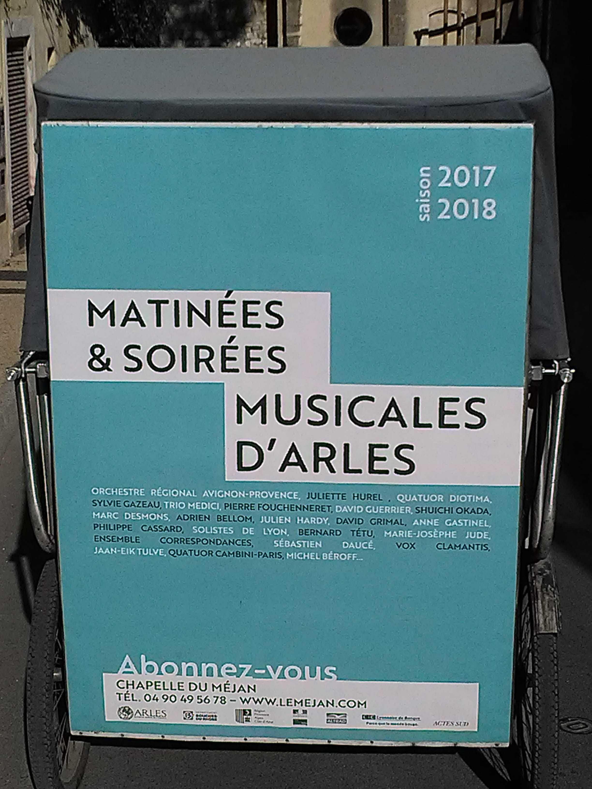 Association du Méjan à Arles: Abonnement pour matinées et soirées musicales