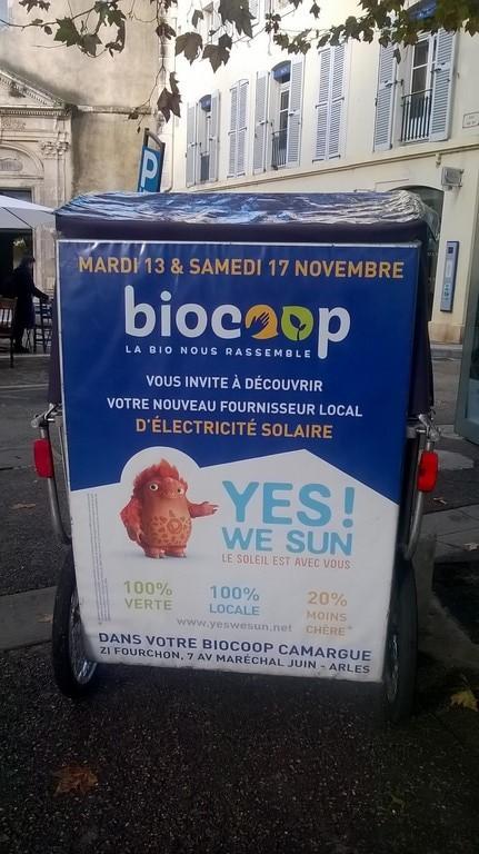 Yes we sun spécialisé en électricité solaire chez Biocoop le 13 et le 17 Novembre 2018